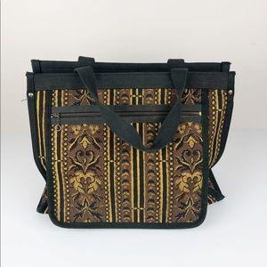 Vintage Victoria USA Gray Canvas Handbag Tote Boho